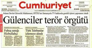 Cumhuriyet gazetesi manşet: gülenciler terör örgütü